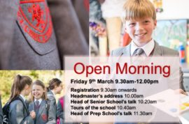 Join us at our next Open Morning – Friday 9th March